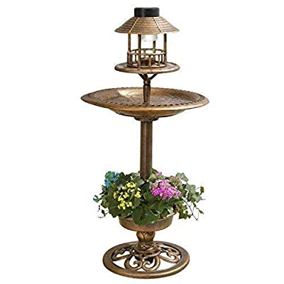 Large Bronze Effect Ornamental Bird Bath Feeder And Planter With LED Solar Lighting
