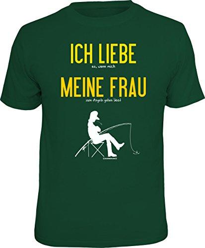 Original RAHMENLOS T-Shirt für Angler und Fischer: Ich liebe meine Frau... Größe L, Nr.1753