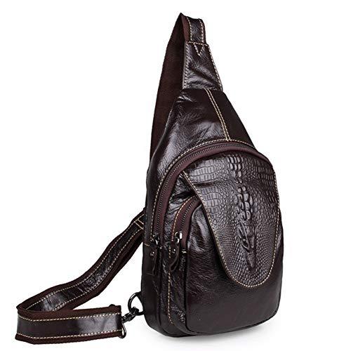 LUCKGXY Herren Leder Brusttasche, Top Layer Krokodilleder Single Shoulder Bag Weiche, lässige Retro-Umhängetasche für Business-Sport Wandern Reisen -