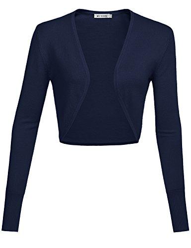 MUXXN Damen Strickjacken Achselzucken für Retro Kleider Langarm Kurz Jäckchen(XL, Navy Blue)
