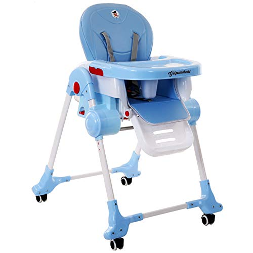 Silla de Comedor Infantil, Dos en uno, Cuna Plegable, Mesa de Comedor,Blue
