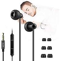 Auriculares In-Ear para Dormir con Micrófono y Cable Control Sonido Estéreo 3.5mm para Dormir, Deportes, Viajes, Meditación y Relajación, Color Negro (AGPTEK ZP04)