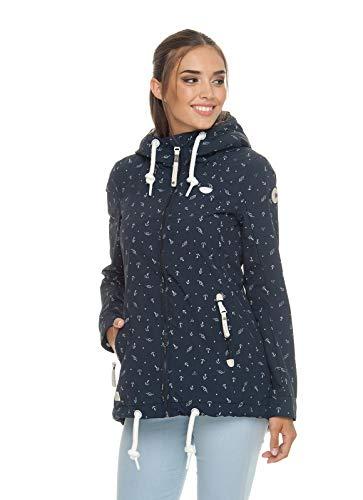 Ragwear ZUZKA Anchors Damen,Jacke,Übergangsjacke mit Kapuze,vegan,Reißverschluss,Zwei Taschen,Navy,M -