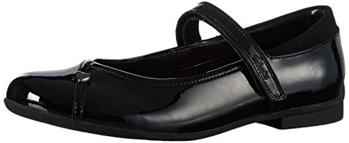Clarks Dolly Babe Jnr Marry Jane Basse, Bambina, Nero (Black Pat), 33