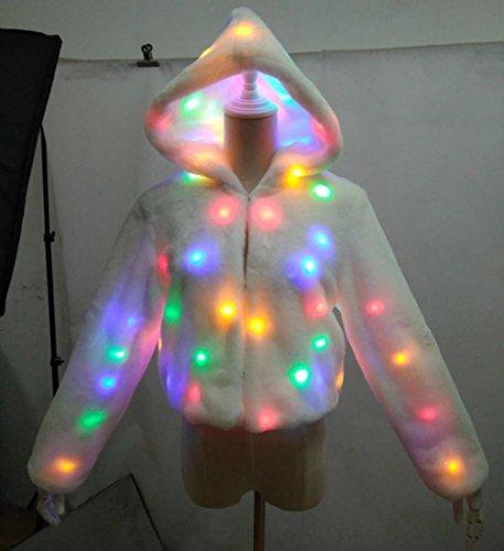 DuuoZy Frauen Faux Pelz LED leuchten Glühen lange Ärmel Kapuzenjacke Nachtclub Party Tanz Show Kostüm , s , (Kostüme Festival Männer Für Renaissance)