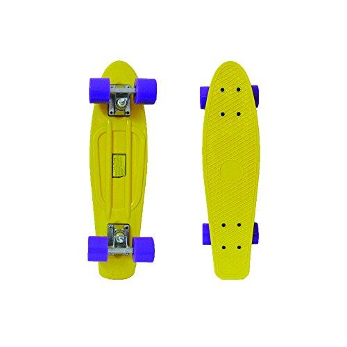 """Gelb Deck/Lila Rollen 22"""" Skateboard Ridge Retro Komplett Longboard Street Cruiser Penny Minicruiser"""