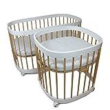 tweeto Babybett Kinderbett Baby 7-in-1 KOMPLETT-SET - multifunktional umbaubar erweiterbar inkl. Matratze Design - 2019 COMBI (Weiss/Buche)