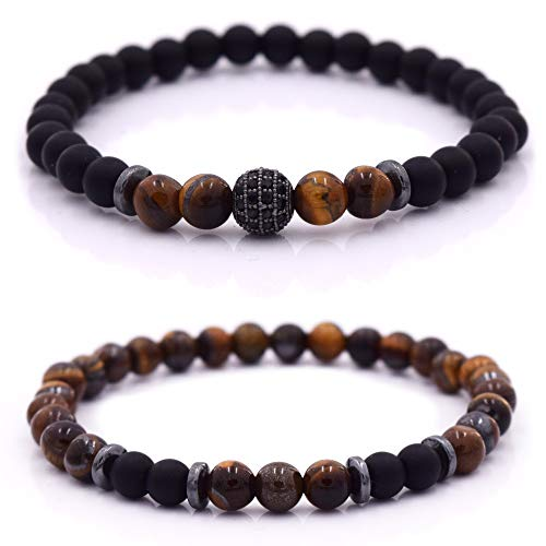 Armband Männer mit Perlen, Herren Armband, Perlenarmband Unisex in verschiedenen Farben (Braun - Schwarz)