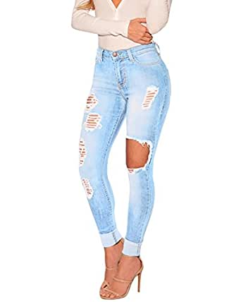 damen jeans skinny hose zerrissen am knie blau jeanshose. Black Bedroom Furniture Sets. Home Design Ideas