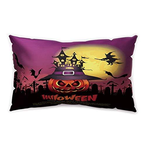 angle Cushion Cover Black Purple Castle Pumpkin Printing Double-Sided Soft Plush Pillowcase 30 x 20 inhces ()