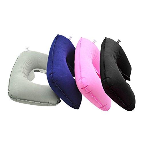 Healifty 4pcs aufblasbare Reise Nackenkissen U geformte Nackenstütze Kissen Plüsch Nack Kissen (grau, blau, Pink und Balck) (Micro-plüsch-kissen)