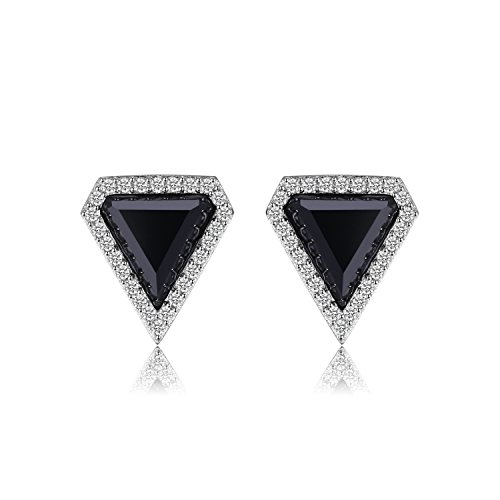Reichen Schwarzen Finish (JewelryPalace Fancy 4.7ct Erstellt schwarze Spinel Ohrstecker 925 Sterling Silber)