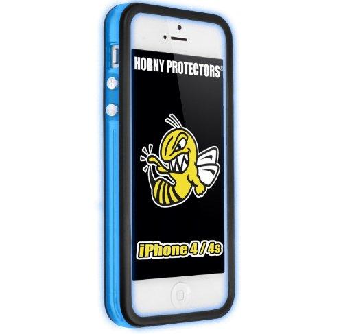 Horny Protectors Bumper für Apple iPhone 4/4S transparent/grün mit Metallbutton Leuchtend