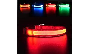 MASBRILL Collare Luminoso per Cani, Collare di Cane LED Ricaricabile e Impermeabile, 3 modalità d'ardore e Misura Regolabile Adatto per Cani di Taglia Piccola Media Grande(Rosso S)