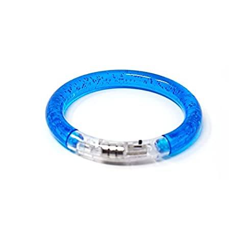 Ultra 1 Blue Coloured Flashing Wrist LED Bracelets Colourful Light up Bubble Bracelet Band Top Quality Perfect for Parties Events Birthdays Concerts and as Favours 6 Great Colours Glow in the Dark Safety Reusable Battery Operated Bracelets