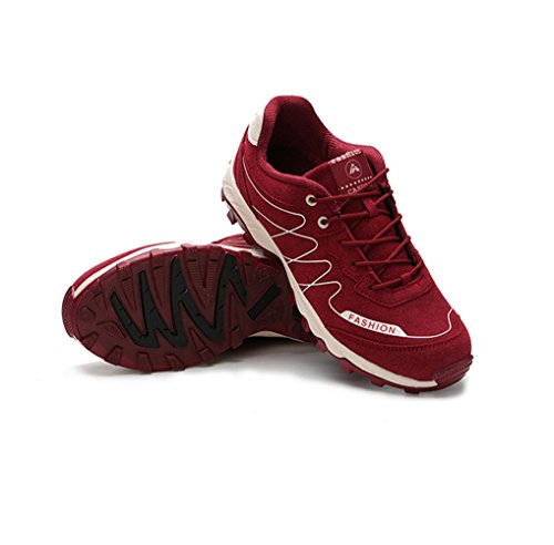 Chaussure randonné sportif sneakers cross-country exercice fitness basket mode amoureux d'air homme femme Rouge