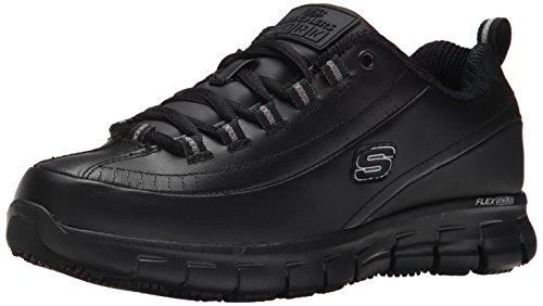 Skechers for Work Women's Sure Track Trickel Slip Resistant Work Shoe, Black, 7.5 XW US (Skechers Slip-clogs)