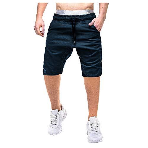 Aiserkly Herren Pure Color Button-Pocket Cargo Shorts Arbeitshose Freizeithose Kampfhose Kurze Drawstring Hosen Sommer (Jungen Leinen Drawstring-hose)