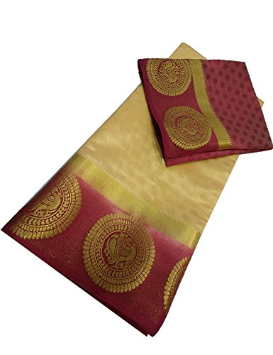 NIRJA FAB Women Tassar Silk Saree With Blouse Piece (Beige_Free Size)
