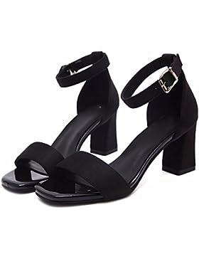 SDKIR-Il campo estivo con cinturino spesso con i sandali, femmina femmina scarpe professionali, nero punta aperta...
