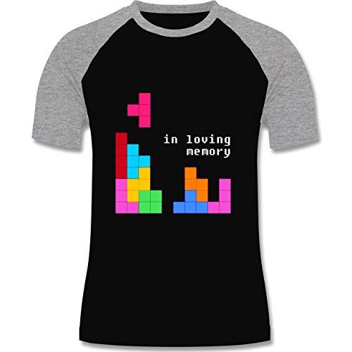 Nerds & Geeks - Tetris in loving memory - zweifarbiges Baseballshirt für Männer Schwarz/Grau Meliert