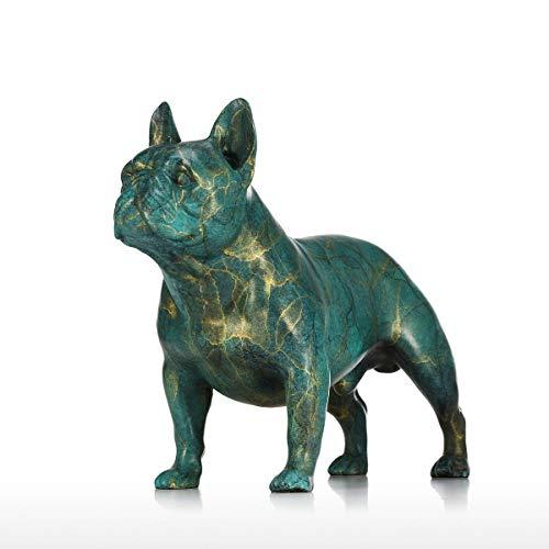 DKKHG Bronzestatuen-Tierskulptur der Bulldogge Tischplattendekorationszahlen und -miniaturen der französischen Bulldogge Collectibles