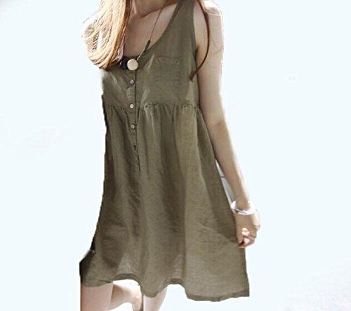 DESY Mode neue Baumwolle und Leinen Mutterschaft Kleid, Sommer kleine frische Kleid, schwangere Frauen Kleid , army green , - Leinen Rock Mutterschaft