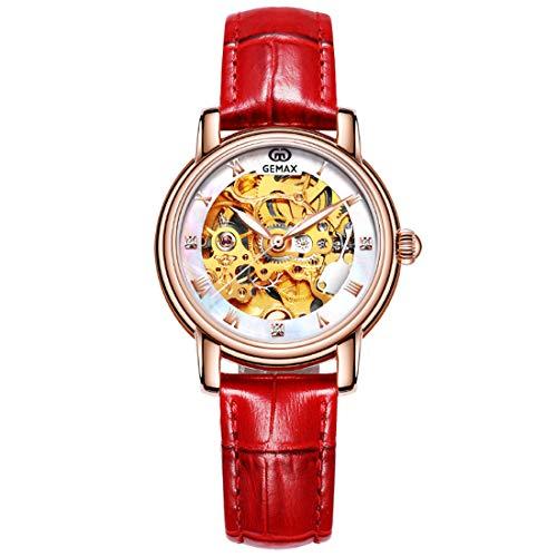 LLC- Watch Orologio Meccanico Automatico delle Donne della Moda della vigilanza, Orologi da Polso di Cristallo Scintillanti per Le Donne, Cinturino in Pelle,Red