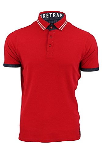 Firetrap Herren Poloshirt Mens Polo Natick Molton - Red