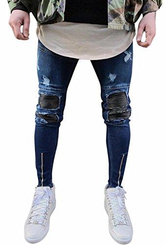 Minetom uomo jeans pantaloni cuciture fit distrutto pantaloni denim alla moda con cerniera skinny pants jeans strappati blu scuro eu l