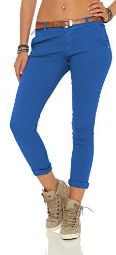 ZARMEXX Damen Stretch Röhrenhose mit Gürtel Chino Skinny Stoffhose Jeggings, Blau, Gr. XXL (44) (Nylon-stretch-jeans)