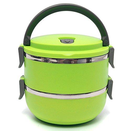 Aliciashouse 2 strati in acciaio inox Bento Lunch Box Isolamento termico portatile Lunch Box-verde - Acciaio Inox Porta Cerniere