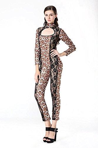 HHTY QREP Nachtclub Catwoman Sexy Catsuit Wetlook Leopard Bodysuit Cosplay Katzenfrau Catsuit Bühnenkostüme Jumpsuit