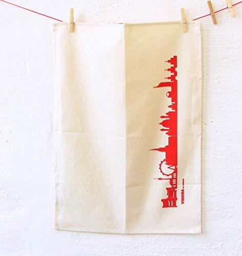 Torchon Vienne en coton bio - Coloris différents - City Towel de 44spaces rouge