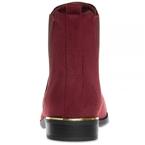 CASPAR SBO054 Scarponcini Chelsea vintage, da donna rosso vivo