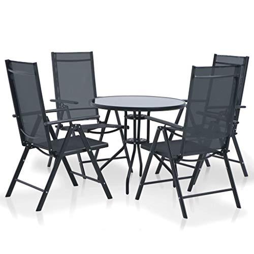 Festnight Meuble de Jardin Mobilier de Jardin 5 pcs Aluminium et Textilène 1 Table et 4 Chaises Pliantes Noir