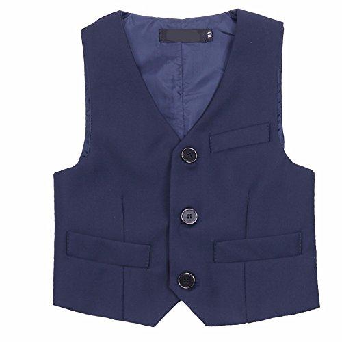 FEESHOW Kids Boys Classic-Style Gentleman Formal Suit Wedding Tuxedo Waistcoat Vest Navy Blue 4-5 Years