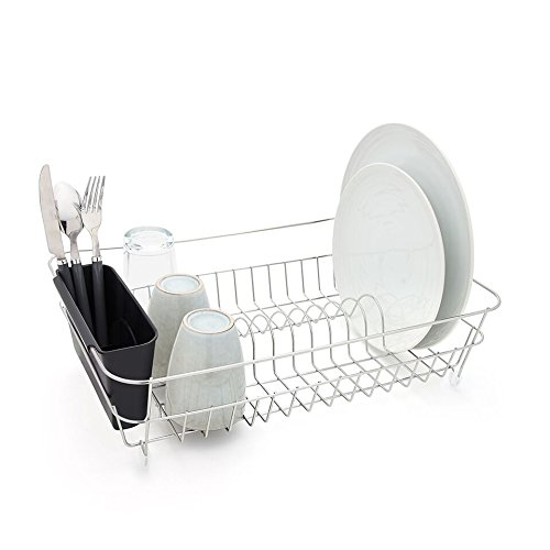 Bloomsbury Mill - Durable Wire Dish Drainer - Plate Drying Rack with Black Cutlery Holder Basket - Anti-Rust - Chrome