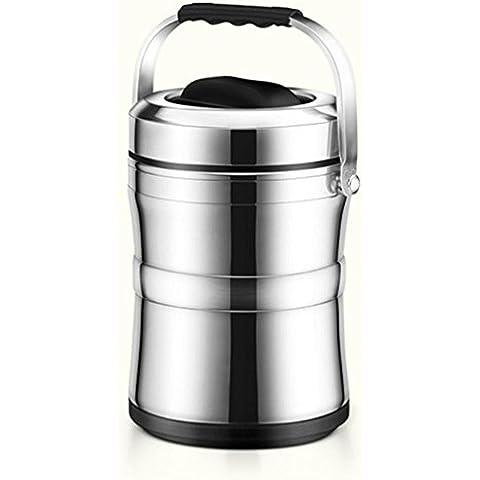 FOOD JIA cajas de almuerzo de frío de gran capacidad de aislamiento estupendo acero inoxidable 304 refrigerador de una capa de tres 2L , black ,
