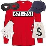 Shirt-Panda Herren Langarm Panzerknacker Kostüm + Cap + Maske + Handschuhe Verkleidung Karneval SET06 T-Shirt/Cap/Maske/Handschuhe/Beutel L