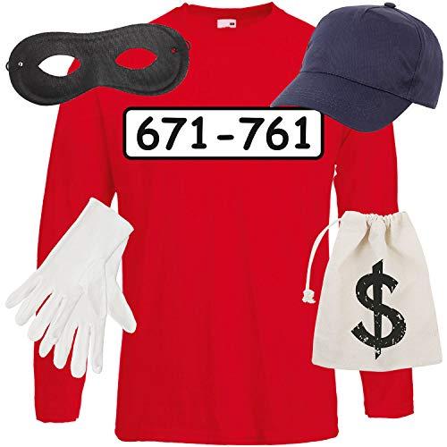 Shirt-Panda Herren Langarm Panzerknacker Kostüm + Cap + Maske + Handschuhe Verkleidung Karneval SET06 T-Shirt/Cap/Maske/Handschuhe/Beutel (Verbrecher Kostüm Weiblich)