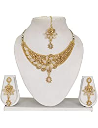 Vipin Store Golden Stone With White Pearl Beads Gold Plated Jewelery Set
