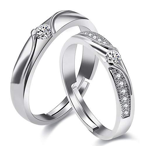 Uloveido Platin plattiert erstellt Diamant Paar Infinity Ringe Set für Hochzeit Engagement Versprechen Schmuck, Damen und Herren einstellbare Größe Ringe Set mit Zirkonia LB026 (Style 10) - Platin Männer-verlobungsringe,