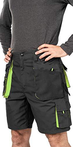 Pantaloni Corti Lavoro Uomo, Estivi Pantaloncini da Lavoro, Taglie Grandi Fino S-3XL, Multi Tasche, Bermuda da Lavoro, Abbigliamento Uomo (XL, Nero/Verde)