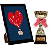 TiedRibbons® Karva Chauth Special Photo Frame With Golden Trophy | Karwachauth Special Gifts For Women | Karwachauth Special Gifts For Wife | Karwachauth Special Gifts For Wife