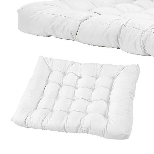 [en.casa] Palettensofa - 5-Sitzer mit Kissen - (weiß) komplettes Set inkl. Arm- und Rückenlehne - 5