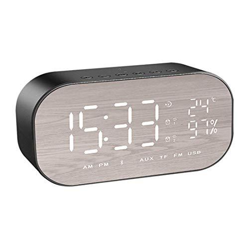 WWANGYU Multifunktion Bluetooth Speaker + Digital Wecker + Make-Up-Spiegel 3 In 1, Bluetooth Wireless Wecker Sound Car Subwoofer Kreative Nacht Sprecher Mini-Alarm Spiegel Kleine Stereo,B