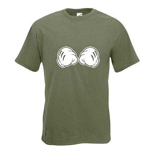 KIWISTAR - geballte Fäuste - Kampf - Micky Maus T-Shirt in 15 verschiedenen Farben - Herren Funshirt bedruckt Design Sprüche Spruch Motive Oberteil Baumwolle Print Größe S M L XL XXL Olive