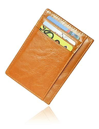 Conisy Portafoglio Uomo Piccolo Sottile in Pelle con Olio di Cera - Mini Porta Carte di Credito con Protezione RFID (Marrone chiaro)