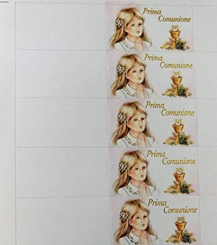 100 pz bigliettini bigliettino bomboniera prima comunione bambina con calice scritta oro a rilievo